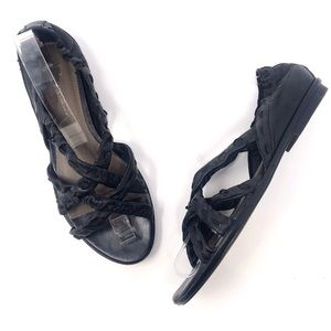 B. Makowsky Lucky Black Leather Criss Cross Sandal